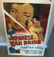 """INSANELY RARE ORIG. VINTAGE 1952 """"JAPANESE WAR BRIDE"""" 1 SHEET (27"""" X 41"""") POSTER"""