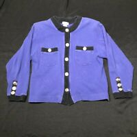 Vintage Neiman Marcus Cardigan Sweater Jumper Womens M Purple Black Button Front