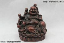 "6""Chinese Tibet Tibetan Buddhism Red Bronze Five Boy Maitreya Buddha Sculpture"