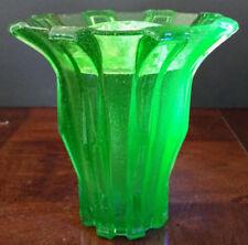 Stolzle Bohemia Modernist Uranium Large 9 inch X 8 inch Glass w-Frog Vase 1935