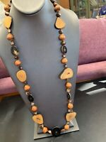 Vintage Bohemian Earthtone Wood Beaded Necklace Long Sweater Length 32""