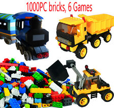 1 Lego Pieces and 1000 + generic Building Bricks Pieces + 6 Game, truck, train