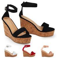 Shelikes Womens High Wedge Cork Heel Espadrille Buckle Sandals Platform Size