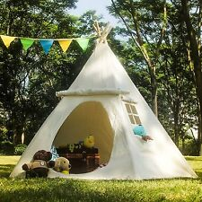 Summer Camping Kids Play Tent Playhouse Indian Canvas Teepee Outdoor Playhut New