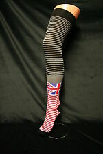 UK FLAG & STRIPES COTTON OVER THE KNEE THIGH EXTRA HIGH SOCKS RED WHITE & BLUE