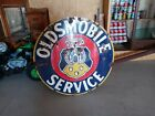 """100% Authentic 42"""" OLDSMOBIE  SERVICE Porcelain Sign. Double sided"""