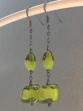 Vintage 50's Sage Green & Poured White Glass Oxidized Sterling Silver Earrings
