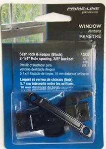 "Set Of 6 Window Sash Lock & Keeper, Black, By Prime-Line F2532, 2-1/4"" Hole Spac"