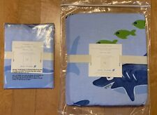 2pc NEW Pottery Barn Kids Shark & Fish Twin  Duvet & Matching Pillow Sham/ Case