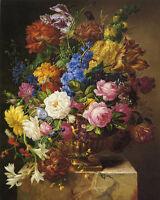 "Oil painting Josef Nigg - Nice still life beautiful spring flowers no framed 36"""