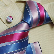 H5067 blue pink striped  christmas gift mens silk tie hanky cufflinks set Y&G