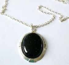 Blue Goldstone Pendant Necklace Silver Plated New 23 inch Chain Lovely Gift