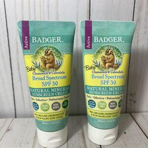 BADGER Baby Chamomile & Calendula Broad Spectrum SPF 30 Sunscreens (2) Exp 9/22+