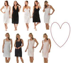 Womens full slip ladies under dress petticoat full length sizes 12-28