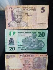 Banknotes from Nigeria and India - 5 and 20 Naira, 10 Rupees