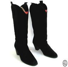 ASH - Bottes talons 6 cm bouts ronds tout cuir daim noir 38 - TRES BON ETAT