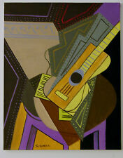 """Original Oil Painting: """"ABSTRACT GUITAR #2"""" on Canvas 20"""" x 16"""" (Art/Music)"""