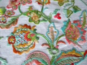 VINTAGE TABLECLOTH - JACOBEAN DESIGN - HAND EMBROIDERED - LINEN