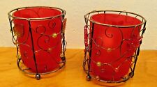 wire and red glass votive candle holders