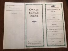 1930'S ORIGINAL VERY RARE CHEVROLET PASSENGER CAR OWNER SERVICE POLICY Blank