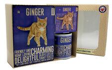 More details for matching ginger cat mug, metal sign & coaster gift set for crazy cat lady lovers