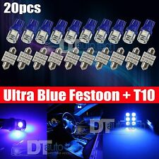 20X 31MM Festoon+T10 LED License plate Map/Dome Interior Light Bulbs Blue