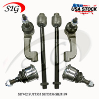 6Pc JPN Front Suspension Ball Joint Outer Tie Rod Set Fits GMC Envoy 2002-2009
