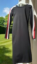 ZARA black bodycon dress  with red and white strips on long sleeves