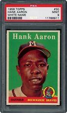 1958 Topps #30 HANK AARON PSA 9 MINT; POP 1 OF 9; NONE HIGHER!!