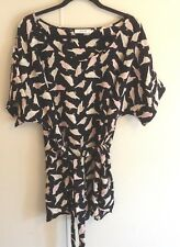 Women's Jessy J Black Bird Print Short Sleeve Belted Tunic Top Size 1X