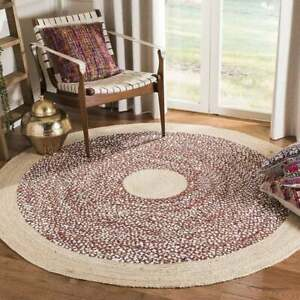 Rug 100% Natural Jute & cotton Braided Style Reversible Handmade area carpet Rug