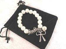 Classic Ladies Faux Pearl and Silver Bow Bracelet