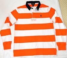 New Polo Ralph Lauren S1 Concept Boys Orange White Stripe TShirt Large 14-16 Yrs