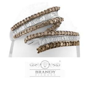 Brandy Diamond® Chocolate Brown Silver Sparkling Baguette Design Ring