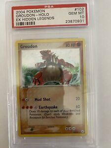 Pokemon - Hidden Legends - Groudon 102/101 EX Holo Card- PSA 10