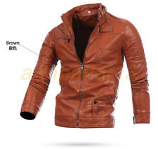 Black Men's PU Leather Jacket fashion Slim  fit Biker Motorcycle jacket Red