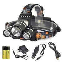 Rechargeable 12000LM 3*XM-L T6 LED headlamp head light 2*18650 AC/USB/Car Charge