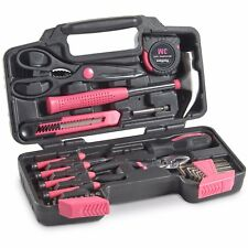 VonHaus Pink 39 Piece Tool Set For Ladies General Homeowner Tools Kit with Case