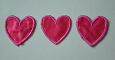 3 PINK LOVE HEARTS Adhesive  Embroidered Sew Iron On Cloth Patch Badge APPLIQUE