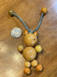 VNTG TYKIE BAKELITE Baby Crib Toy Figural Kitty Cat Beads Articulated 30's 40's