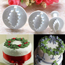 3pcs Xmas Leaf Fondant Cake Plunger Cookie Cutter Mold Pastry Moulds Sugarcraft
