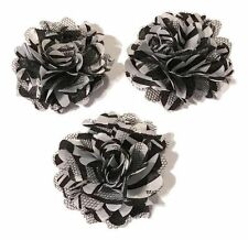 "3 pieces zebra print 2"" satin & tulle mesh flowers / diy hair bows"