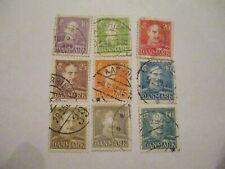 Nine 1927-1948 Denmark Stamps - 10,15,20,25,30,40,45,50,6 0 Denomination
