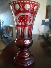 Large Bohemain Ruby Flash Cut Glass Vase