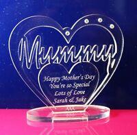 Personalised Happy Mother's Day Gift Heart - Mum, Mummy, Mam, Mammy, etc w Stand