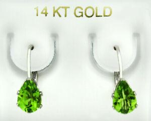 GENUINE 1.86 Cts PERIDOT DANGLING EARRINGS 14K WHITE GOLD * Free Certificate *