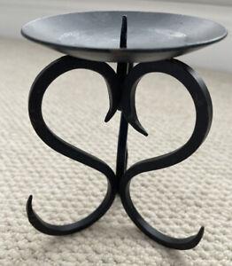 Black Wrought Iron Metal Scroll Goth Pillar Candlestick Holder