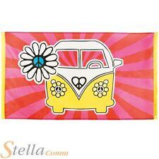 Campervan Flag 60s 70s Hippie Hippy Peace Flower Power Party Banner Decoration