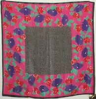 """TERRIART Fuchsia, Pink, Black Dots, Flowers 30"""" Square Scarf-Vintage"""
