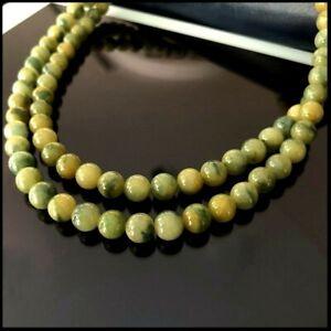 【KOOJADE】Emerald Yellow With Green Jadeite Jade Beads necklace《108》《GradeA》